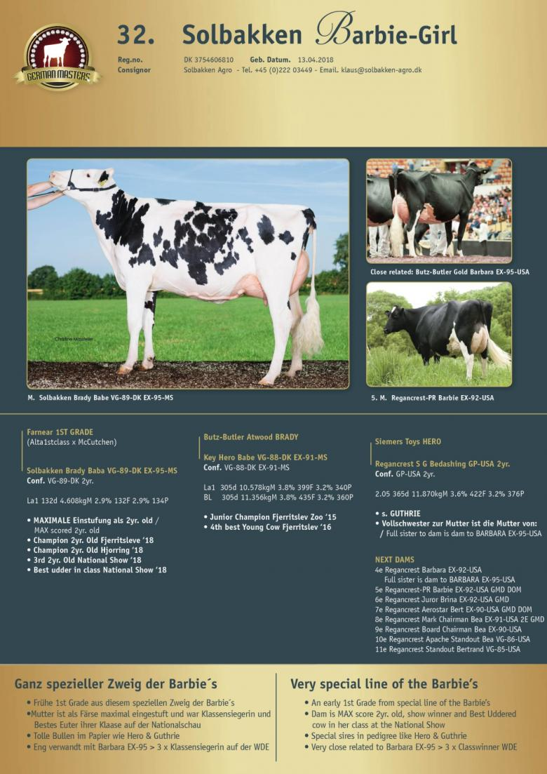 Datasheet for Lot 32. Solbakken Barbie-Girl | Sells in absence
