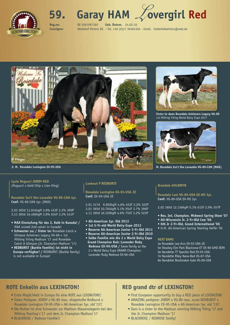 Datasheet for Lot 59. Garay HAM Lovergirl Red