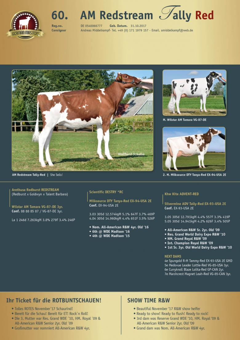 Datasheet for Lot 60. AM Redstream Tally Red
