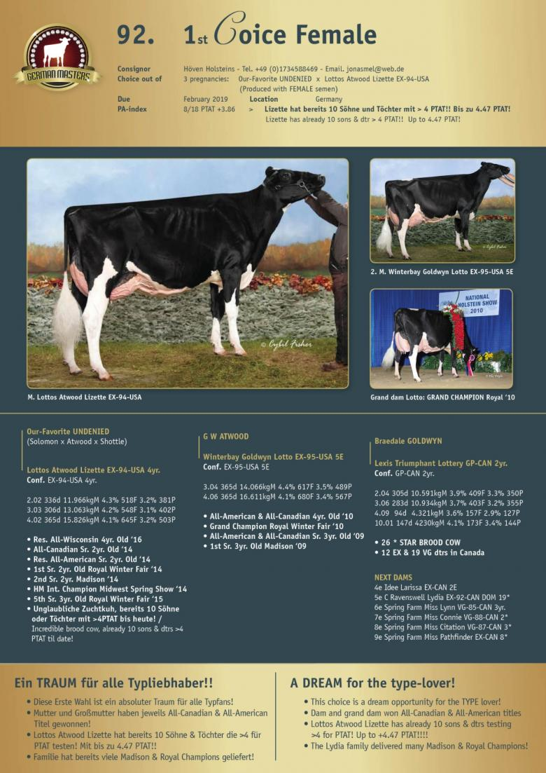 Datasheet for Lot 92. 1st Choice Female