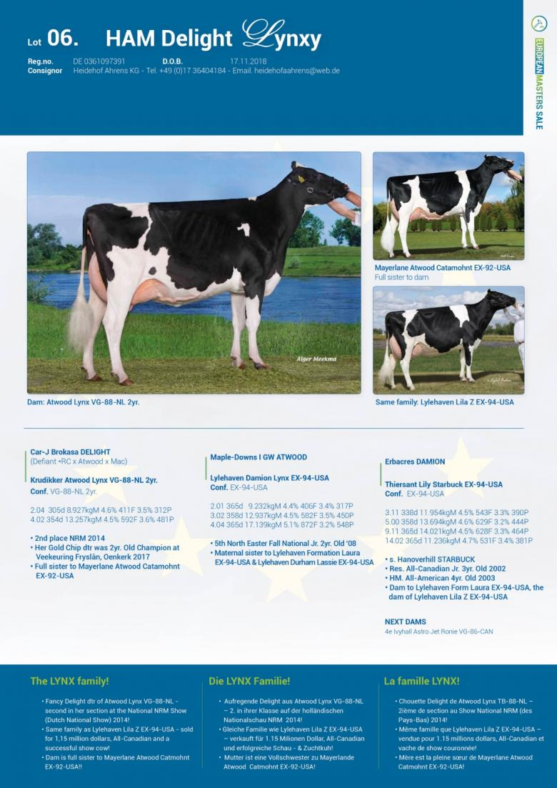 Datasheet for Lot 6. HAM Delight Lynxy