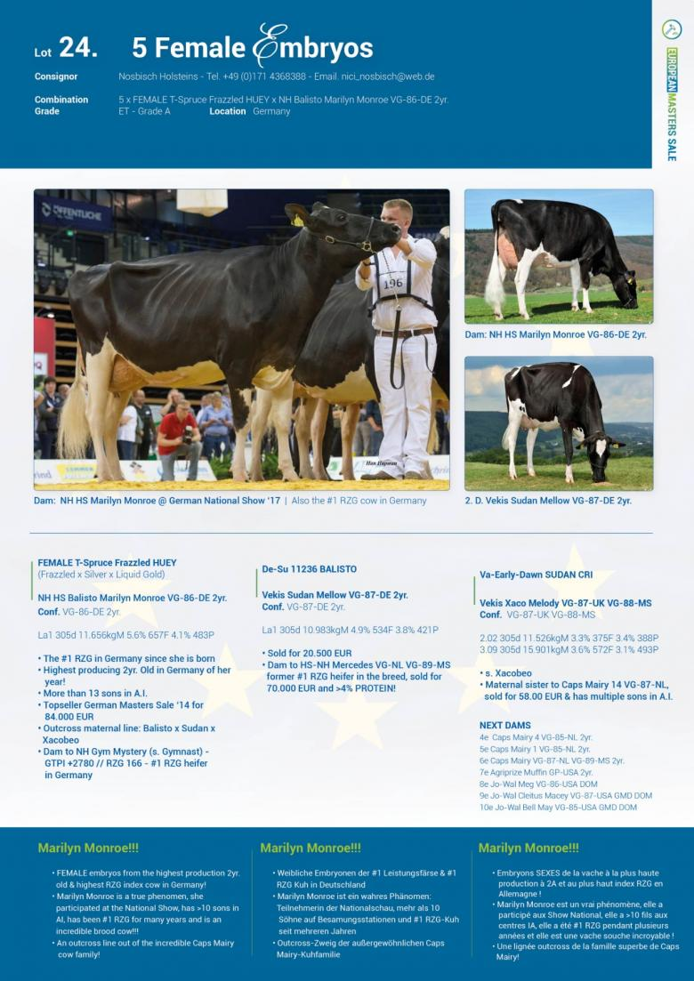 Datasheet for Lot 24. 5 FEMALE embryos