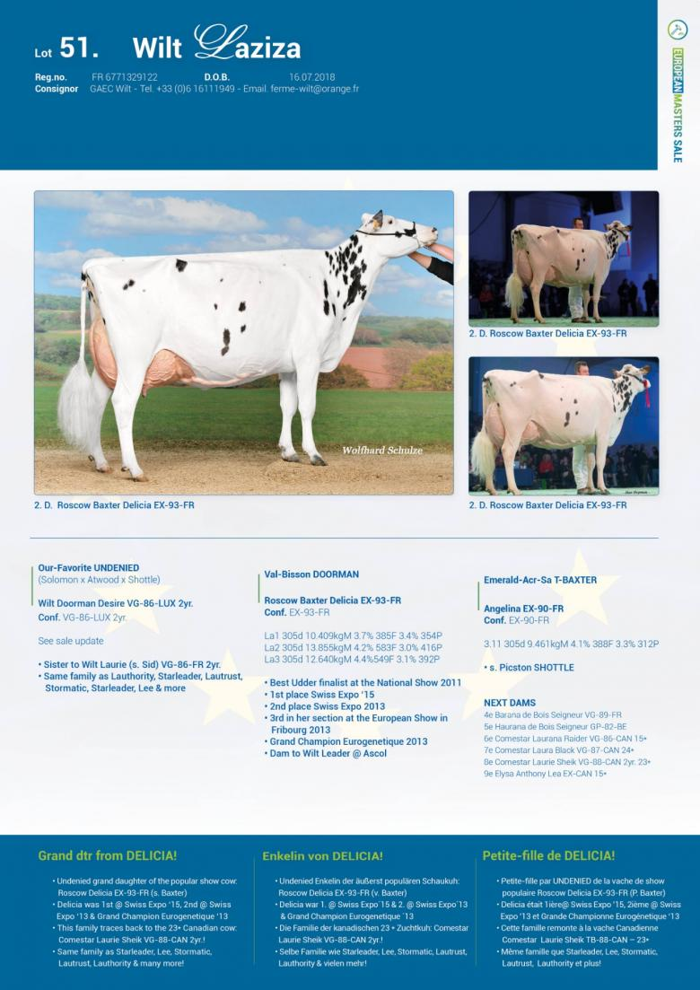 Datasheet for Lot 51. Wilt Laziza