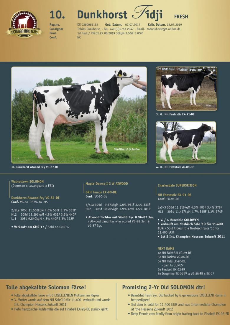 Datasheet for Lot 10. Dunkhorst Fidji