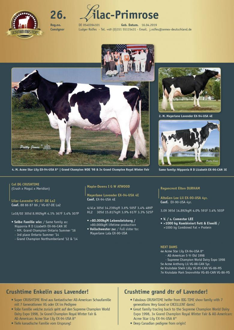 Datasheet for Lot 26. Lilac-Primrose