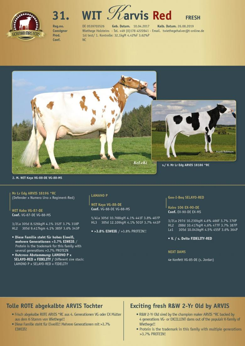 Datasheet for Lot 31. WIT Karvis Red | OUT OF SALE