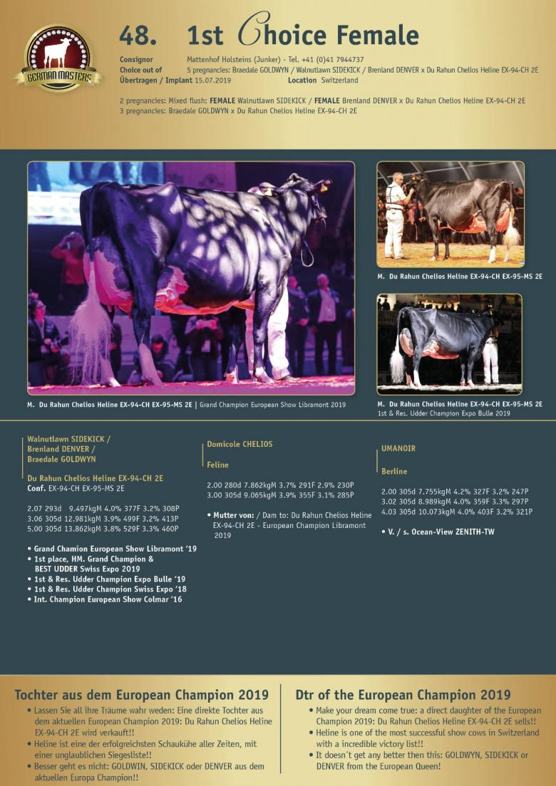 Datasheet for Lot 48. 1st Choice Female