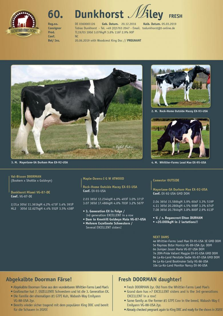 Datasheet for Lot 60. Dunkhorst Miley