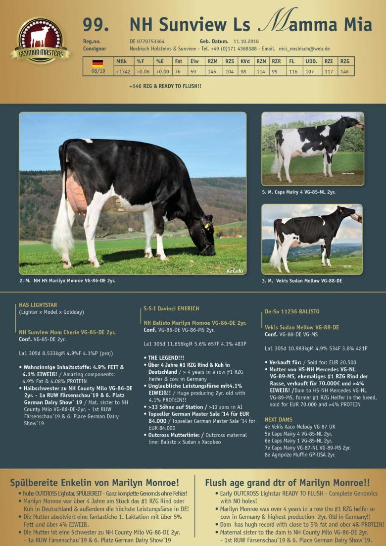 Datasheet for Lot 99. NH Sunview Ls Mamma Mia