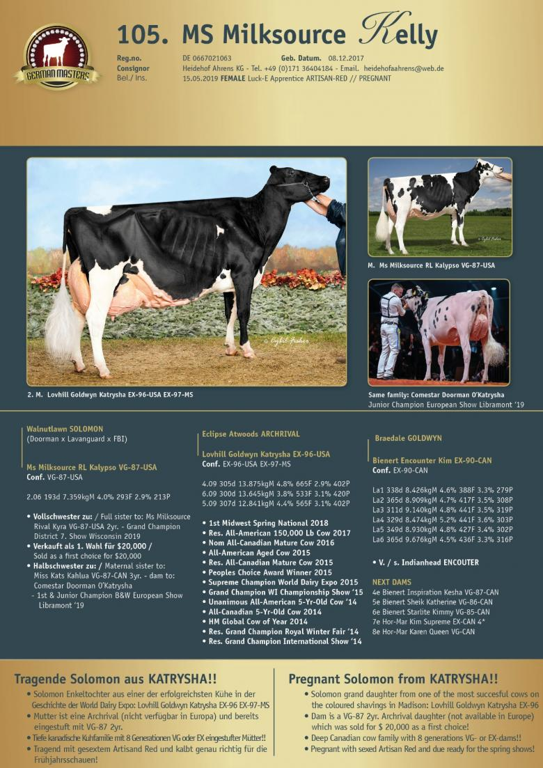 Datasheet for Lot 105. MS Milksource Kelly