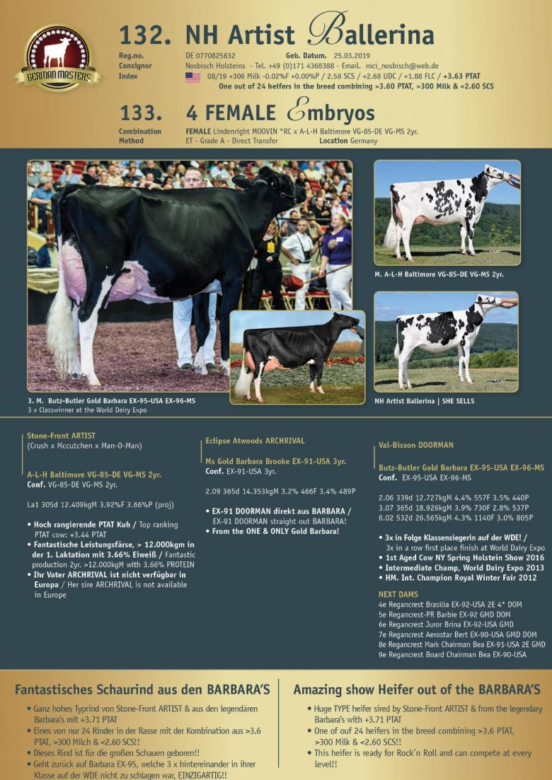 Datasheet for Lot 133. 4 FEMALE embryos